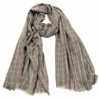 Foulard chèche gris carreaux homme