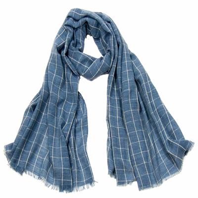 Foulard chèche bleu jeans carreaux homme