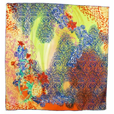 Carré de soie orange hibiscus 105 x 105 cm premium