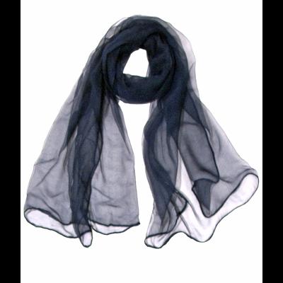 Foulard écharpe mousseline de soie bleu marine