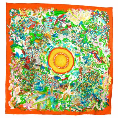 Carré de soie orange fleuri 105 x 105 cm premium