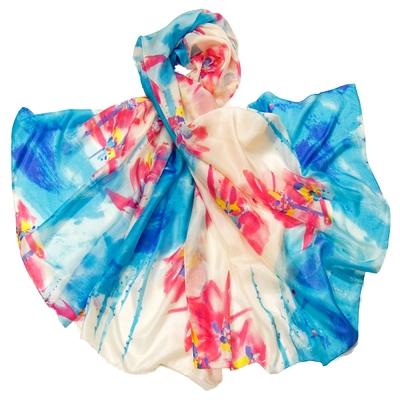 Etole en soie rose bleu exotica premium