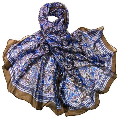 Etole en soie bleu vif cachemire paisley premium