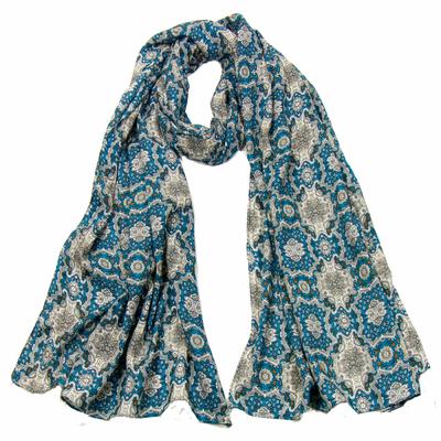 Foulard homme coton bleu turquoise chambord