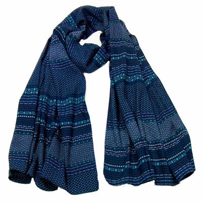 Foulard homme coton bleu marine multi-frises