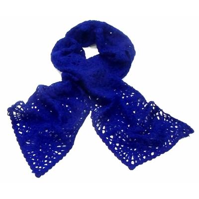 Echarpe maille fantaisie style vintage bleu vif
