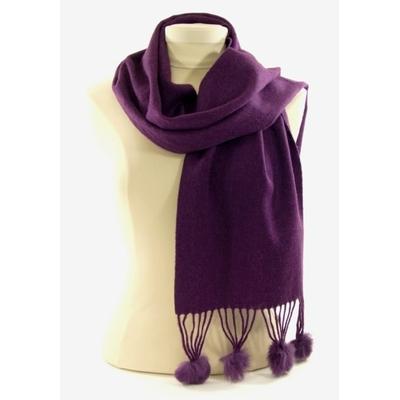 Echarpe violet en laine pompons fourrure