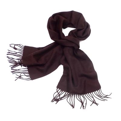 Echarpe chocolat en laine tissée