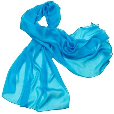 Etole bleu turquoise mousseline de soie premium
