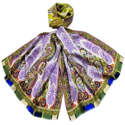 Etole vert mauve twill de soie motifs baroques édition limitée