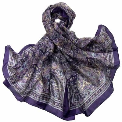 Etole en soie violet cachemire paisley premium