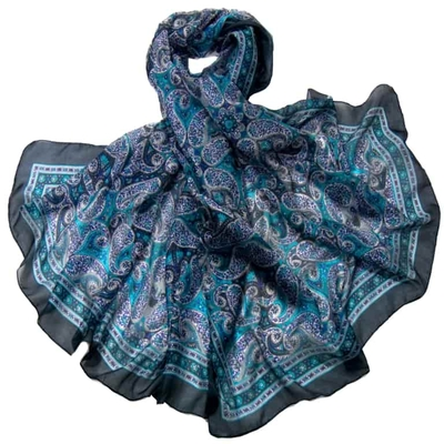 Etole en soie turquoise cachemire paisley premium
