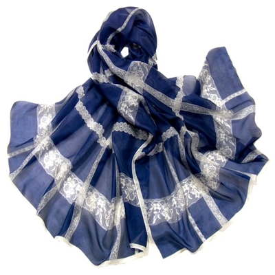 Etole en soie bleu marine dentelle premium