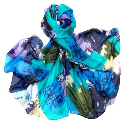 Etole en soie bleu quadri premium