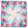 foulard carré de soie bleu roses 3-min