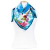 carré en soie bleu fleuri 2