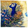 carré en soie tableau la dame en bleu 1