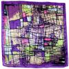 carré en soie violet graffiti 1