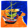 carré en soie Barques des Saintes-Maries de la mer Van gogh 1