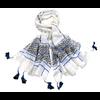 poncho chèche bleu pompons POE-FAN 07 5