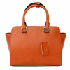 sac en cuir femme orange pompon 2