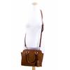 sac en cuir femme beige camel pompon 6