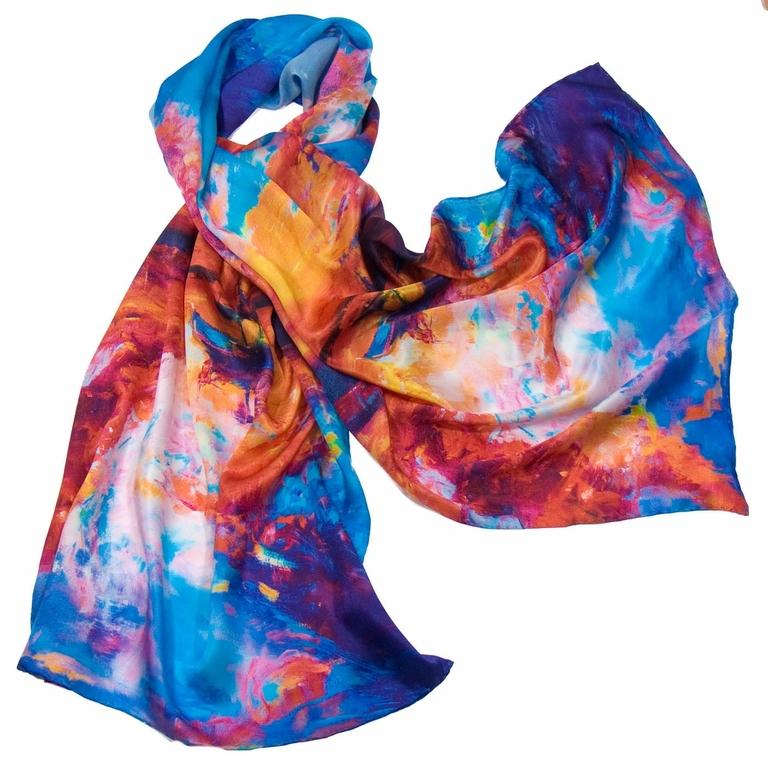 foulard en soie bleu reveries 1