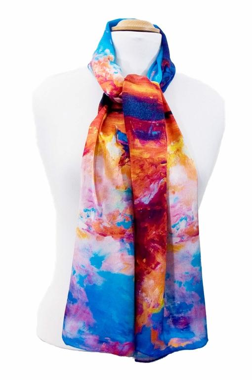 foulard en soie bleu reveries 2