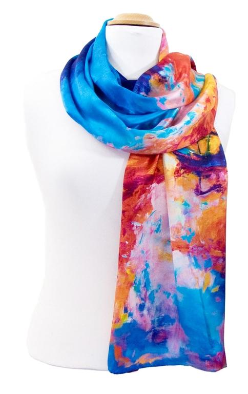 foulard en soie bleu reveries 3