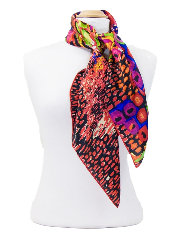 foulard carré de soie corail colorima 2-min