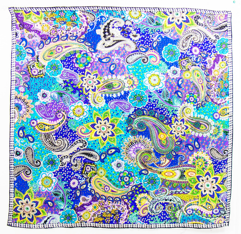 foulard carré de soie vert lorine 1-min