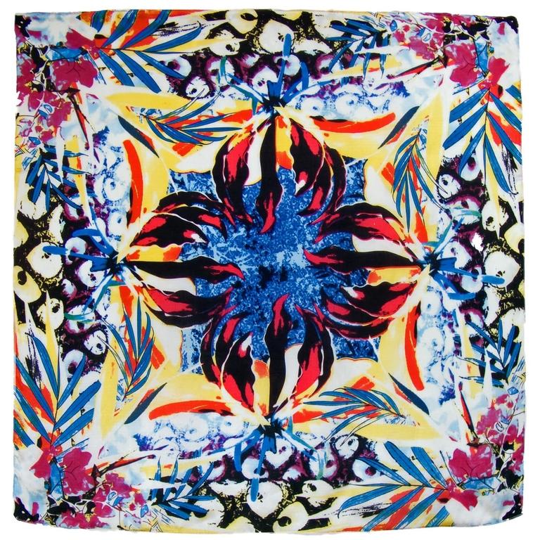 foulard carré de soie bleu optili l-min