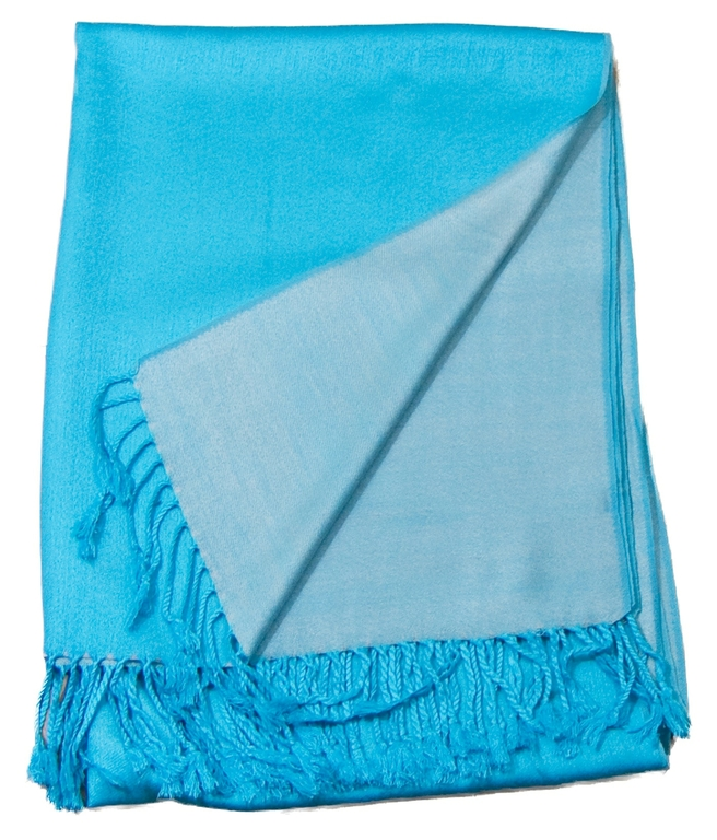 étole pashmina turquoise écru réversible 3-min