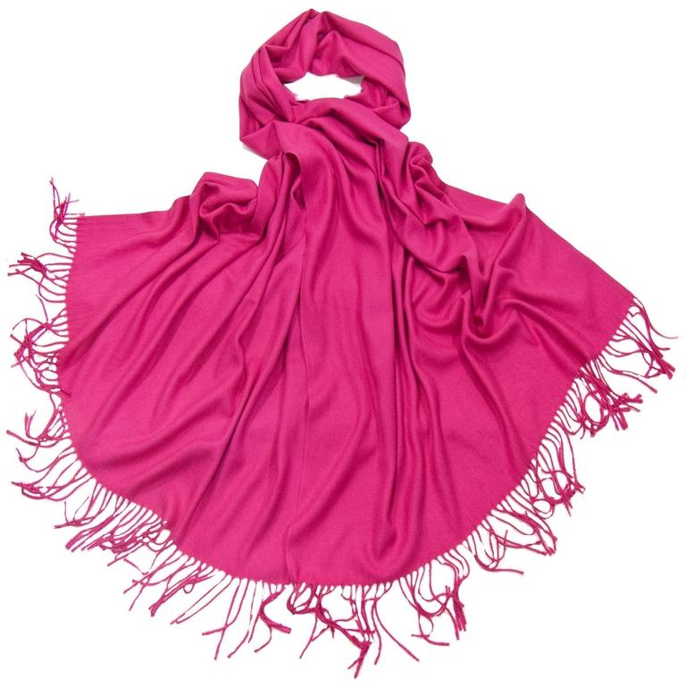 étole cachemire laine rose fushia 1-min