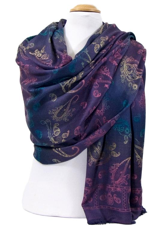 étole pashmina violet dégradé multicolore 2-min
