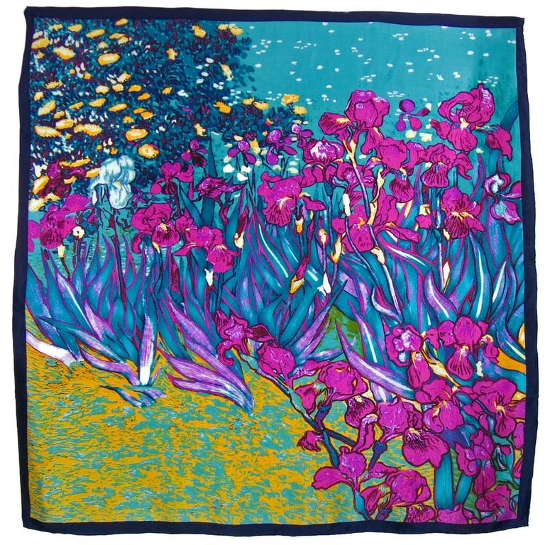 carré de soie les iris prune Vincent Van Gogh 1-min