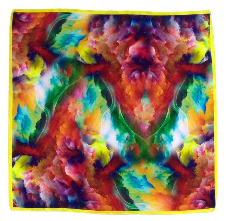 carré de soie mini rouge nuages 1-min