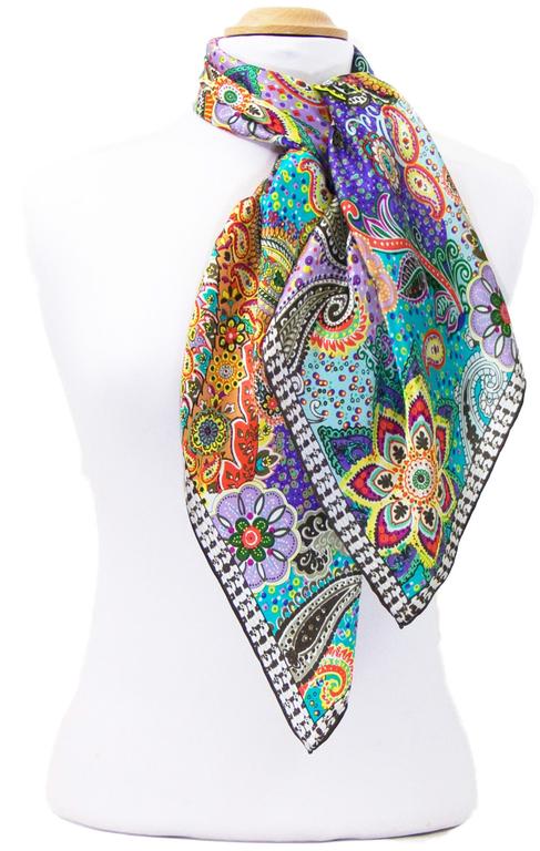 foulard carré de soie mauve lorine