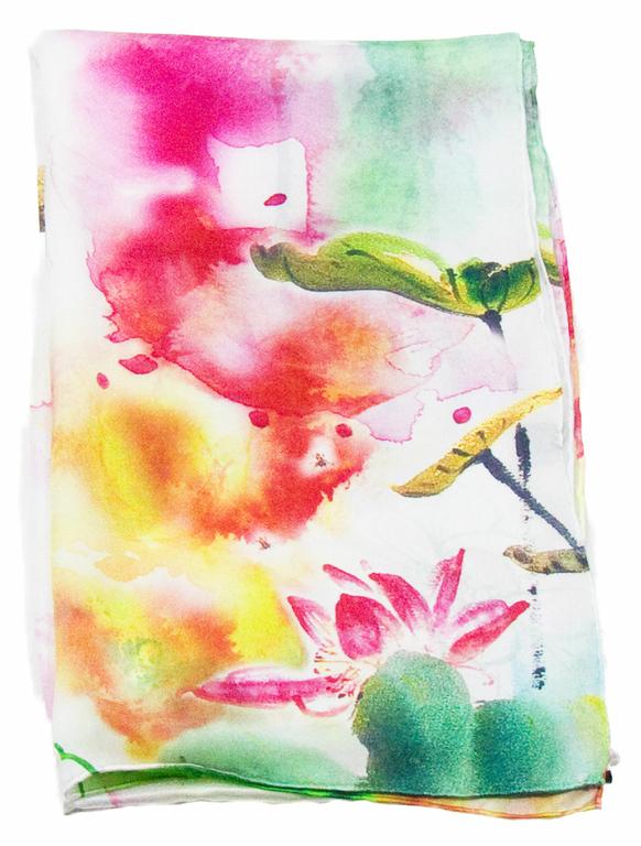foulard en soie rouge aquarelle  4