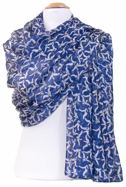 étole en soie bleu oiseaux 1