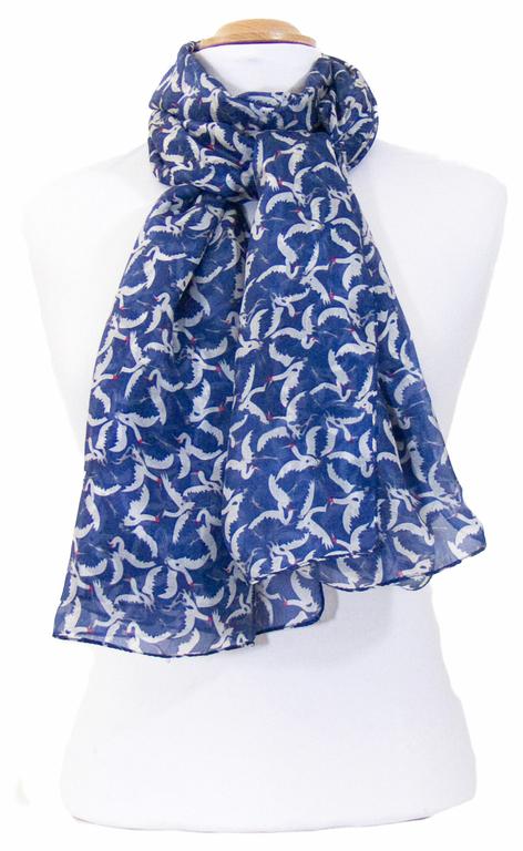 étole en soie bleu oiseaux 2