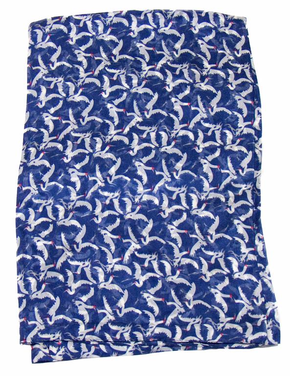 étole en soie bleu oiseaux 4