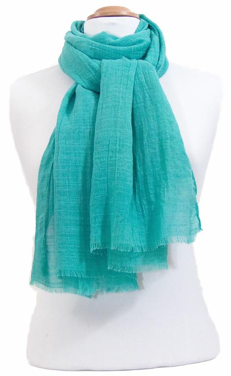 foulard lin vert eau 2