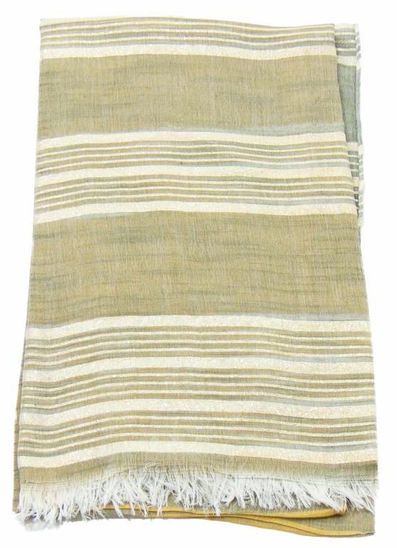 foulard kaki jaune rayures or 4