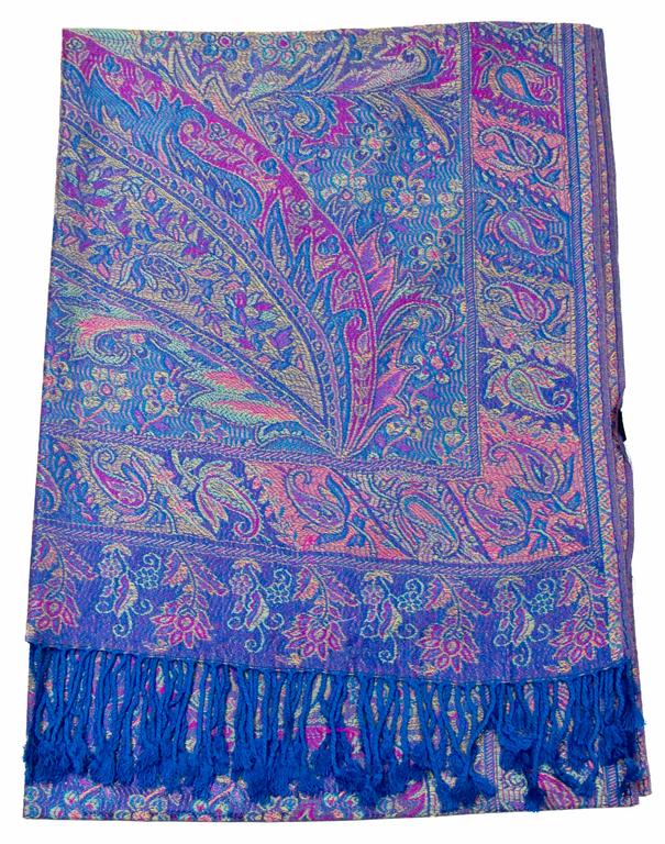 étole bleu pashmina indien 1