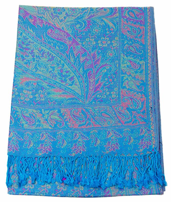 étole bleu turquoise pashmina indien 1