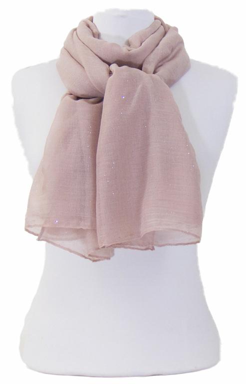 foulard taupe rosé paillettes 1