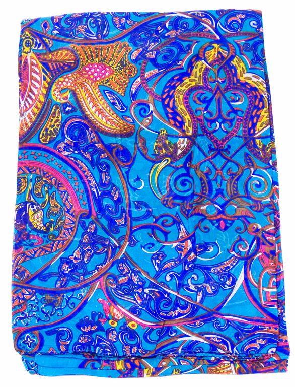 étole en soie bleu diane 1
