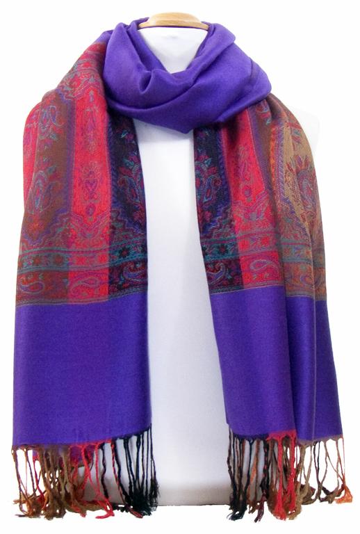 étole violet pashmina motifs 3