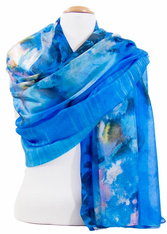 étole en soie bleu romane 2